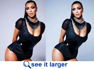 Kim Kardashian cellulite before and after airbrushing